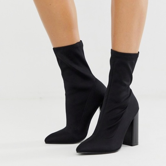 New Black High Heel Sock Boots Booties